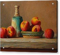 Peaches And Green Ceramic Acrylic Print by Dan Petrov
