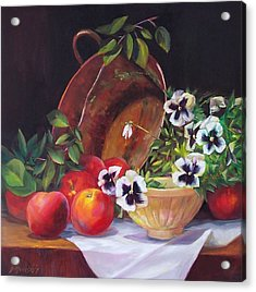 Peaches And Pansies  Acrylic Print by Donna Munsch