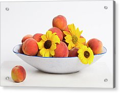 Peaches And Sunflowers Acrylic Print by Diane Macdonald