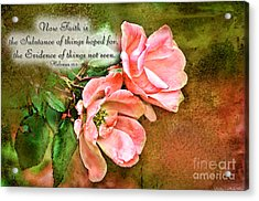 Peachy Keen With Verse  Acrylic Print by Debbie Portwood