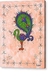 Peachy Peacock Acrylic Print
