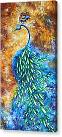 Peacock Abstract Bird Original Painting In Bloom By Madart Acrylic Print by Megan Duncanson