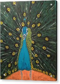 Acrylic Print featuring the painting Peacock by Brindha Naveen
