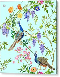 Peacock Chinoiserie Surface Fabric Design Acrylic Print by Kimberly McSparran