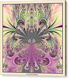 Peacock Feathers Bouquet Fractal 157 Acrylic Print by Rose Santuci-Sofranko
