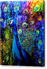 Peacock II Acrylic Print by Karen Walker
