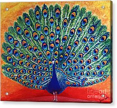 Acrylic Print featuring the painting Peacock By Jasna Gopic by Jasna Gopic