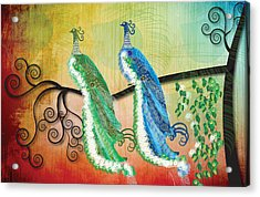 Acrylic Print featuring the digital art Peacock Love by Kim Prowse