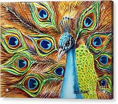 Peacock Acrylic Print by Maria Barry