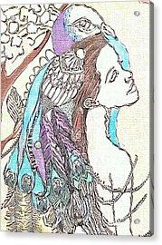 Peacock Woman 2 Acrylic Print by Amy Sorrell