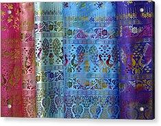 Peacocks On Silk Acrylic Print