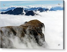 Peaks Surrounded By Sea Of Fog Acrylic Print by Dr Juerg Alean
