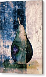 Pear In Blue Acrylic Print by Carol Leigh