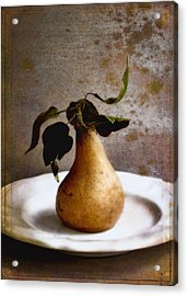 Pear On A White Plate Acrylic Print