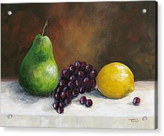 Pear Study With Lemon Acrylic Print by Torrie Smiley