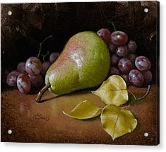 Pear With Birch Leaves Acrylic Print by Timothy Jones