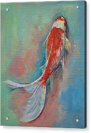 Pearl Banded Koi Acrylic Print by Michael Creese