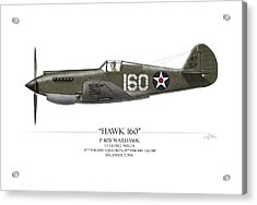 Pearl Harbor P-40 Warhawk - White Background Acrylic Print by Craig Tinder