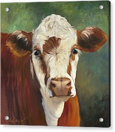 Acrylic Print featuring the painting Pearl Iv Cow Painting by Cheri Wollenberg