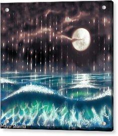Pearl Rain @ Precious Pearl Ocean Acrylic Print by Mayur Sharma