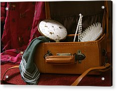 Pearls And Brush Set In A Suitcase Acrylic Print
