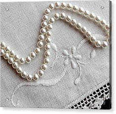 Pearls And Old Linen Acrylic Print