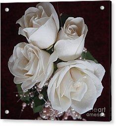 Pearls And Roses Acrylic Print by Nancy TeWinkel Lauren