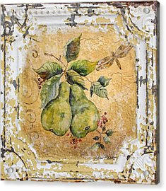 Pears And Dragonfly On Vintage Tin Acrylic Print by Jean Plout