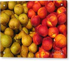 Pears And Peaches. Fresh Market Series Acrylic Print by Ausra Huntington nee Paulauskaite