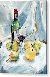 Pears And Wine Acrylic Print