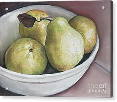 Pears In Bowl Acrylic Print by Charlotte Yealey