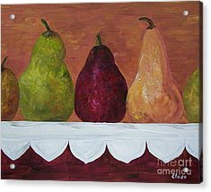 Acrylic Print featuring the painting Pears On Parade   by Eloise Schneider