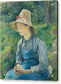 Peasant Girl With A Straw Hat Acrylic Print by Camille Pissarro