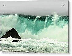 Pebble Beach Crashing Wave Acrylic Print by Artist and Photographer Laura Wrede