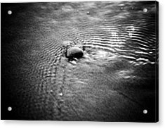 Pebble In The Water Monochrome Acrylic Print by Raimond Klavins