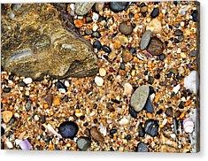 Pebbles And Sand Acrylic Print by Kaye Menner