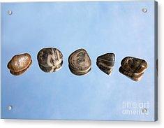 Pebbles And Sky Reflection Acrylic Print by Natalie Kinnear