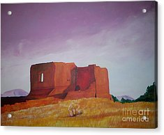 Acrylic Print featuring the painting Pecos Mission Landscape by Eric  Schiabor