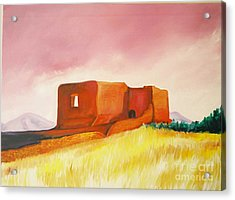 Acrylic Print featuring the painting Pecos Mission Nm by Eric  Schiabor