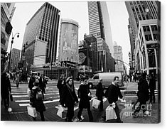 Pedestrians Crossing Crosswalk On 7th Ave And 34th Street Outside Macys New York City Usa Acrylic Print by Joe Fox