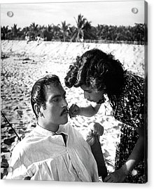 Pedro Armendariz With A Make-up Artist Acrylic Print