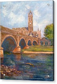 Peebles  Bridge Inn And Parish Church Acrylic Print by Richard James Digance