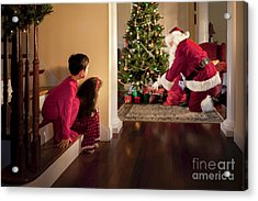 Peeking At Santa Acrylic Print by Diane Diederich