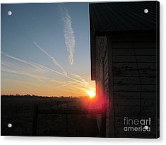 Peeking Through The Barn Sunrise Acrylic Print