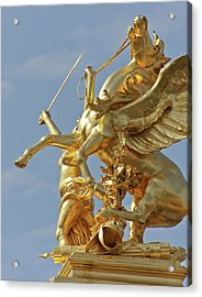 Pegasus Statue At The Pont Alexander Acrylic Print by William Sutton