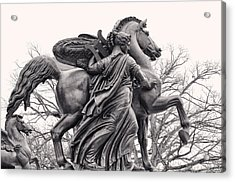 Pegasus Tamed By The Muses Erato And Calliope Acrylic Print by Bill Cannon