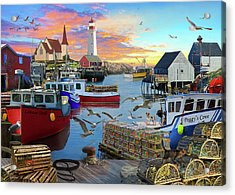 Acrylic Print featuring the drawing Peggys Cove by David M ( Maclean )
