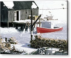 Peggy's Cove Nova Scotia Canada In Winter Acrylic Print