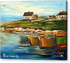 Peggys Cove With Fishing Boats Acrylic Print by Carole Spandau