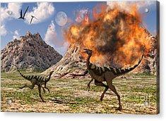 Pelecanimimus Dinosaurs Fleeing Acrylic Print by Mark Stevenson
